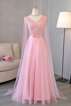 handmade custom dresses Princess pink tulle long skirt hem wedding v-neck long sleeve high-end customization sold by custom dress mary. Shop more products from custom dress mary on Storenvy, the home of independent small businesses all over the world. Cute Prom Dresses, Pretty Dresses, Bridal Dresses, Beautiful Dresses, Vestidos Color Pastel, Frack, Sweetheart Dress, Lace Evening Dresses, Sweet Dress