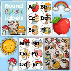 Alphabet Labels Round Style by Clever Classroom.