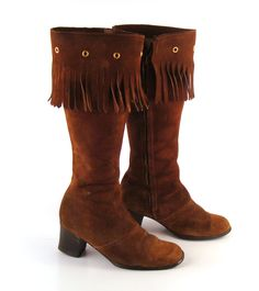 Brown Suede Boots Vintage 1960s Fringe Brown Leather Mod Boots ~ Cute