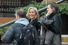 Happy to be back: Gillian Anderson, 47, has begun filming for another of her popular shows...