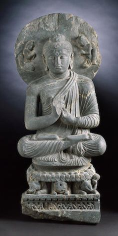 Preaching Buddha Seated on Elephant Throne Gandhara, Century AD Buddha India, India Art, Buddhist Art, Stone Carving, Art And Architecture, Lion Sculpture, Elephant, Buddha Statues, Hinduism