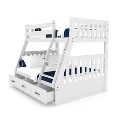 Buy Cornelia Solid Pine Triple Bunk Bed with Storage - White Online Australia Loft Bunk Beds, Wooden Bunk Beds, Bunk Beds With Storage, Bunk Bed Plans, Metal Bunk Beds, Kids Bunk Beds, Bed Storage, Furniture Storage, Twin Full Bunk Bed