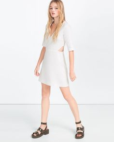 CONTRAST DRESS WITH SHEER SLEEVES-Mini-DRESSES-WOMAN | ZARA United States