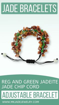 This adjustable free-form red and green jade chip bead bracelet is strung on black silk cord. Amazing to wear and a great gift! Use discount code INSTA10JORDAN at checkout! Diy Leather Bracelet, Jade Bracelet, Pearl Bracelet, Beaded Bracelets, Rubber Band Bracelet, Jade Green, Adjustable Bracelet, Bracelet Patterns, Cord