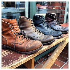The Beauty of Age - Four in a Row: a complete Line up of Iron Rangers, worn in by our Staff. From Left to Right: 8112 Oro - iginal, 8113 Hawthorne Muleskinner, 8114 Black Harness & 8111 Amber Harness. Me Too Shoes, Men's Shoes, Shoe Boots, Red Wing Iron Ranger, Red Wing Boots, Denim Boots, Mens Boots Fashion, Style Retro, Vintage Boots