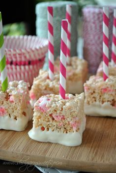 Peppermint Krispie Treats- candy cane #jell-o pudding mix gives these treats their peppermint flavor! Add in some peppermint marshmallows and dip in white chocolate...cute holiday treat! www.shugarysweets.com