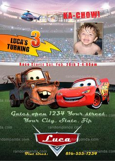 Personalize Disney Cars Invitation, Mater Party, Lightning McQueen Birthday Invite