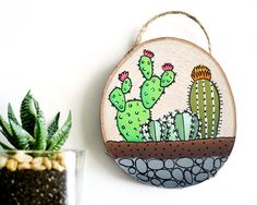 Mini Cactus Terrarium Art on Wood Cactus by walrusandtoad on Etsy