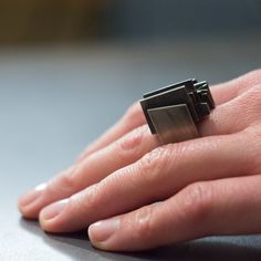 Black Oxidized Silver and 14K Gold Square Ring by Alexey Cherkasov