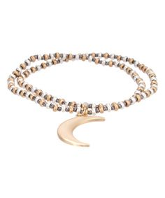 Loving this Goldtone Moon Stretch Bracelet on #zulily! #zulilyfinds