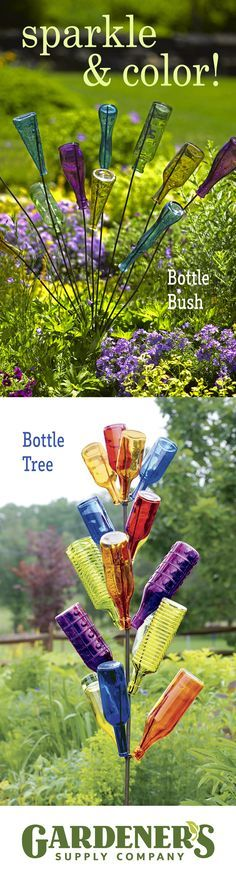 Placing empty glass bottles (wine bottles, antique bottles, colorful bottles) in the garden as a way to trap evil spirits is a Southern tradition. These days, a bottle tree is also a way to remember a special celebration or add sparkling color to a quiet spot in the garden.  See our Bottle Tree, Bottle Bush, and Colorful Bottles at gardeners.com.