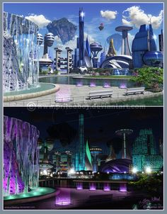 Cyberpunk City, Futuristic City, Futuristic Technology, Futuristic Design, Futuristic Architecture, Arte Sci Fi, Sci Fi City, Future Buildings, 70s Sci Fi Art