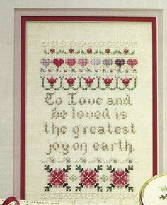 Love's Joy Sampler Cross Stitch Pattern from a book To love & be loved #crossstitchpatternfromabook #Sampler