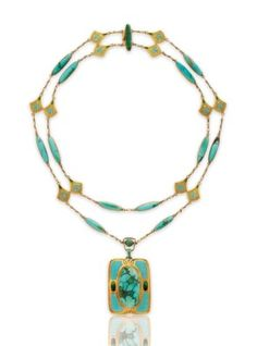 Lot A turquoise, enamel and gold necklace, by Louis Comfort Tiffany, Tiffany & Co. Pearl Jewelry, Jewelry Art, Antique Jewelry, Gold Jewelry, Jewelery, Jewelry Necklaces, Jewelry Design, Beaded Necklace, Gold Necklace