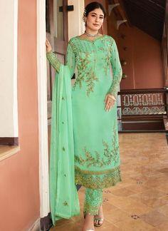 Siya Fashion Green Satin Georgette Party Wear Salwar Suit With Dupatta Kareena Kapoor, Priyanka Chopra, Churidar Suits, Salwar Kameez, Wedding Salwar Suits, Straight Cut Pants, Hand Work Blouse Design, Embroidered Clothes, Sherwani
