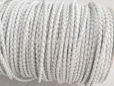 Free ship!!! High quality natural 3mm white braided geunine leather cord 50yards/roll MN-2103 $72.22