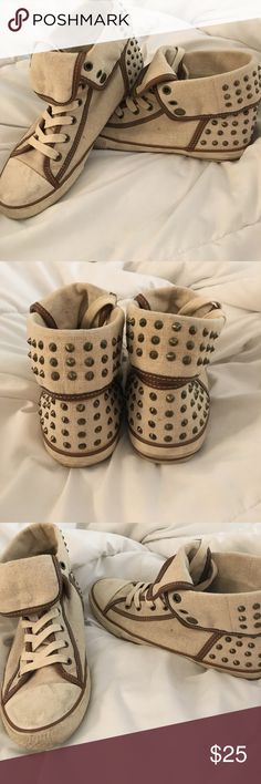 Converse style Aldo shoes These cute studded high top shoes can be dressed up or down. Slightly worn, but very comfortable high-fashion shoes. Aldo Shoes Sneakers