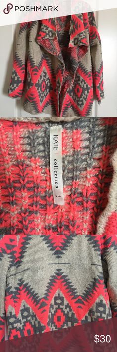 KATE Collection Aztec Tribal Print Cardigan💗 KATE Collection Aztec Tribal Cardigan💗  Cozy & Comfy open front cardigan from Kate Collection! Beautiful bright pink, grey & oatmeal colors in an Aztec • Tribal • Southwest Pattern. Cotton/acrylic/wool blend. Previously loved-good condition. Sold in boutiques.  Size S/M Kate Collection Sweaters Cardigans