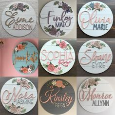 Custom Wood baby Name Sign 24 Round Sign Floral Unisex Baby Names, Cute Baby Names, Baby Girl Names Unique, Rose Nursery, Girl Nursery, Floral Nursery, Disney Nursery, Baby Wall Art, Nursery Wall Art