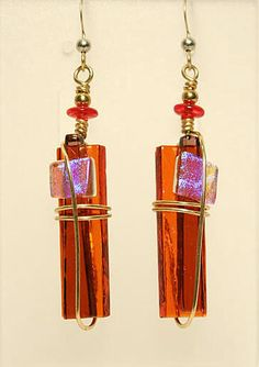 Meko Designs Red Wire Wrapped Fused Glass Earrings
