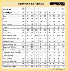 A tabela de Medidas Femininas foi baseada nas medidas da mulher brasileira.  As medidas foram tiradas rente ao corpo, sem ajustar, nem af...