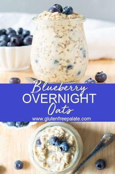 Overnight Oats With Yogurt, Blueberry Overnight Oats, Vegan Overnight Oats, Blueberry Oat, Overnight Porridge, Best Overnight Oats Recipe, Breakfast Dishes, Free Breakfast, Oats For Breakfast