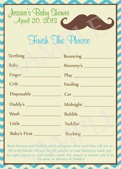 Mustache Baby Shower Games  Printable by Moments2Celebrate on Etsy, $5.00