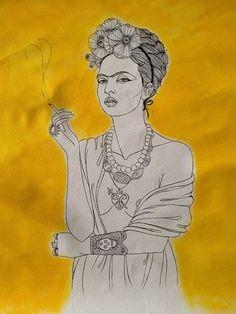 Frida Fumando 2012 93 x 67,5 cm Acrílica sobre canvas Lady Guedes