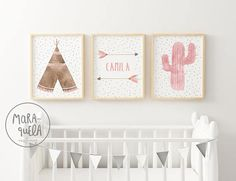 Brown Teepee, Pink Cactus and Customized Arrows - Boho Set - watercolor -beige, brown, hues - Tribal set - Baby decor - girl - nursery art