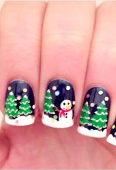 Christmas Night nail art