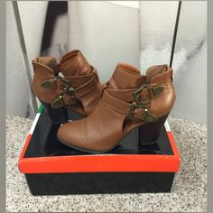 """Bamboo Booties Very Cute Chestnut Bamboo Booties with Double Buckles, Back Zipper & Open Sides!! Has a Slight Scuff at the Toe of the Right Shoe as shown in photo! Otherwise Excellent Condition! 3"""" Heel, All Man Made Materials Bamboo Shoes Ankle Boots & Booties"""