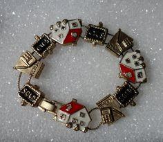 Realtor Bracelet! Real Estate Bracelet! Slider Charm Bracelet! Red White Black Enamel! Gold Tone Bracelet! Sold Signs! Free S & H! On Sale! by OldLadyWhite on Etsy