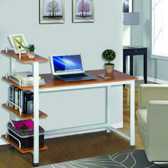 Yaheetech Home Computer Desk with 4 Tiers Shelves, Wooden Writing Desk PC Laptop Table Workstation with Bookshelves for Office, Black Custom Computer Desk, Computer Workstation Desk, Computer Desk Design, Computer Desks For Home, Pc Desk, Home Office Desks, Table Desk, Custom Desk, Gaming Desk