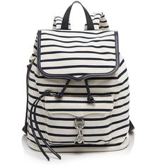 Rebecca Minkoff Backpack - Bloomingdale's Exclusive Bike Share Stripe... (470 BRL) ❤ liked on Polyvore featuring bags, backpacks, accessories, bolsas, purses, navy stripe, navy backpack, draw string backpack, canvas knapsack and strap backpack