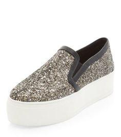 Silver Glitter Chunky Flatform Plimsolls