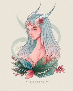 Zodiac Signs Capricorn, Zodiac Star Signs, Zodiac Art, Art Zodiaque, Capricorn Aesthetic, Zodiac Characters, Anime Art Girl, Cartoon Art, Cool Drawings