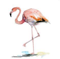 Origineel Flamingo waterverf schilderij. Flamingo door Zendrawing, €37.50