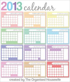 {The Organised Housewife} Free 2013 Monthly Calendar Printables with to-do list.  4 designs to choose from!!
