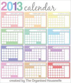 {The Organised Housewife} 2013 Calendar - Chevron