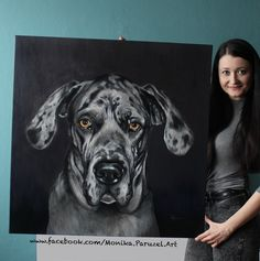 Portrait of Great Dane. Acrylic painting at canvas, size 80x80cm  2017