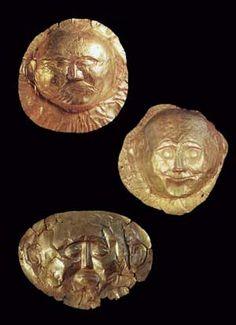 Máscaras de oro procedentes de las tumbas IV y V, Micenas.