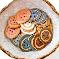 Unique handmade ceramic BUTTONS You Choose 3 colors by GlazedOver