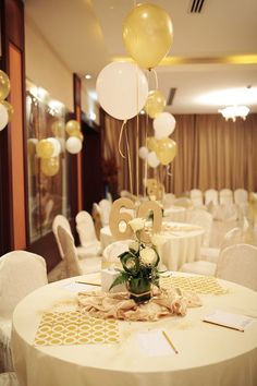 60th Bithday Balloon Decor Birthday Party Halls Room Decorations Table