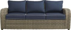 Charlotte Harbor Gray Outdoor Sofa - Rooms To Go Mold And Mildew, Fabric Covered, Outdoor Sofa, Seat Cushions, Wicker, Love Seat, Cozy, Charlotte, Treasure Coast