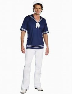 Wholesale Men's Role-playing Halloween Navy Costumes Shirt+Hat One Color Blue  -$11.20