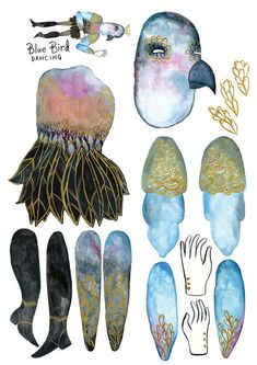 Blue Bird Dancing PDF Articulated Paper Doll / by benconservato