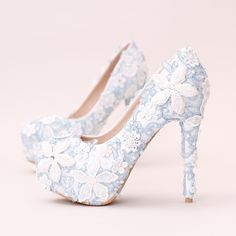 54.99$  Buy here  - Blue Lace Flowers Extreme High Heels Women Wedding Shoes Bridal Handmade Pearls Rhinestones Dress Shoes Party Prom Pumps
