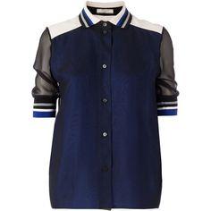 Bouchra Jarrar sheer panel blouse (2 173 AUD) ❤ liked on Polyvore featuring tops, blouses, shirts, blusas, black, colorblock shirt, short sleeve blouse, black shirt, polo collar shirts and panel shirt