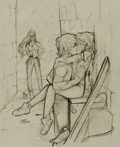 Clary & Jace. TMI. In the alleyway. They got caught by Isabell, it was hilarious.