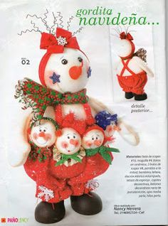 REVISTA PAÑO LENCY FIELTRO NAVIDAD 241 Holiday Crafts, Holiday Decor, Maya, Snowman, Dolls, Christmas Ornaments, Ideas, Girl Baptism Party, Christmas Crafts